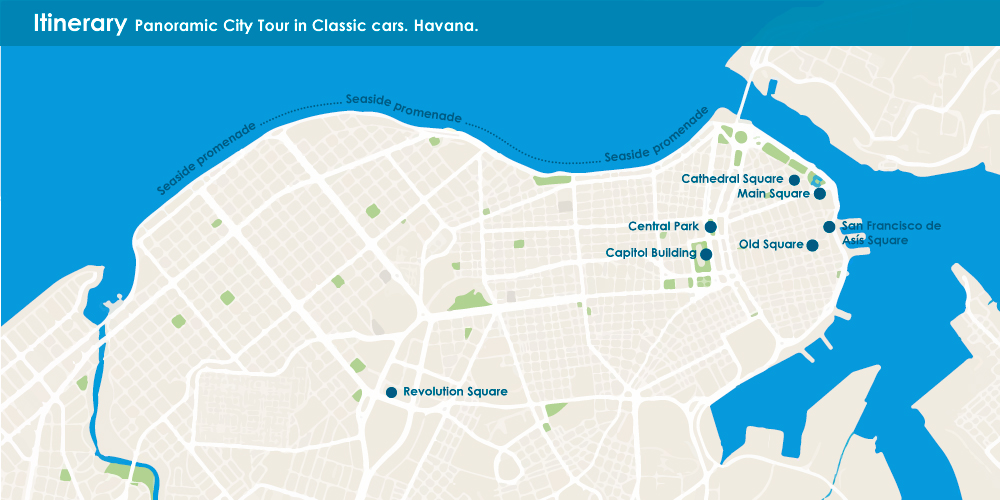 Panoramic City Tour by classic cars. Havana