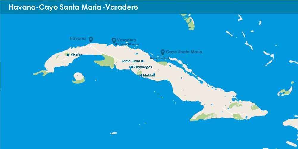 Havana + Cayo Santa María + Varadero in 7 nights